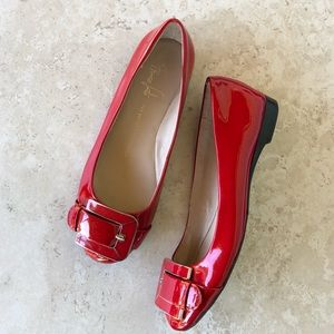 Franco Sarto Red Buckle Flats